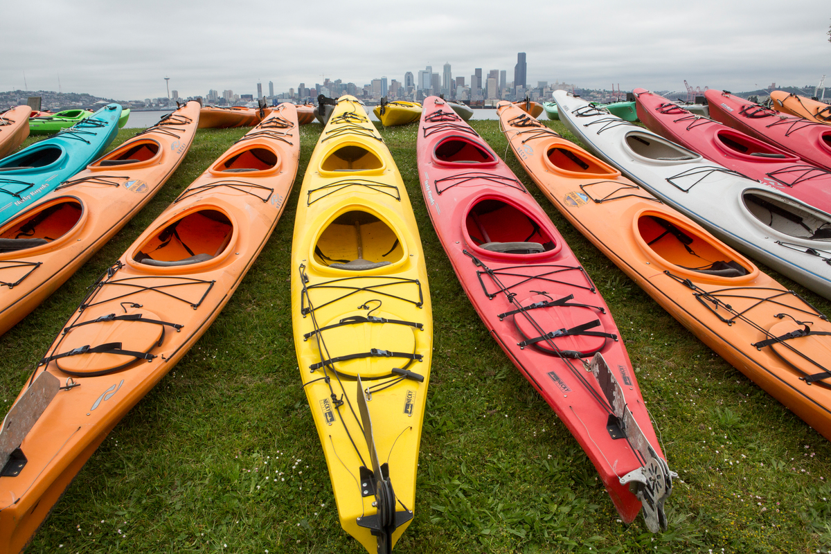 Kayaks are lined up in preparation of the sHell No Flotilla part of the 'Paddle in Seattle' protest.