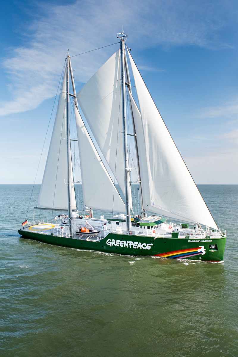 The Rainbow Warrior III with sails undergoes sea trials around Helgoland, North Sea. The Rainbow Warrior is Greenpeace's first purpose-built vessel and will be officially launched in Autumn 2011.