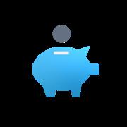 Coin going into piggy bank