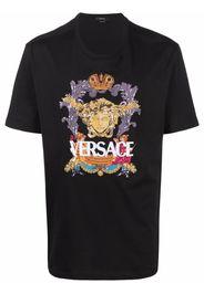 Versace T-Shirt mit Medusa-Stickerei - Schwarz