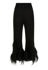 16Arlington feather-trim flared trousers - Nero