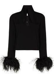 16Arlington Michelle feather-embellished blouse - Nero