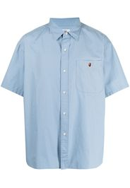 A BATHING APE® embroidered logo cotton shirt - Blu