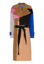 colourblock double-breasted coat