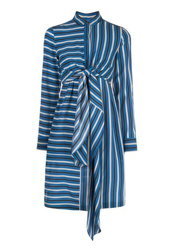 silk striped mini shirt dress