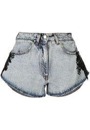 Almaz bead-embellished denim shorts - Grigio