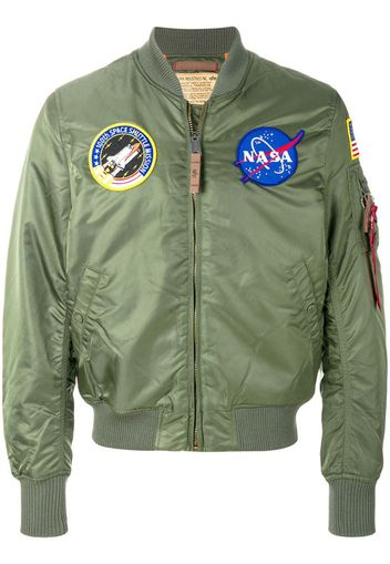 giacca stile bomber con badge