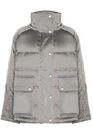 metallic padded puffer jacket