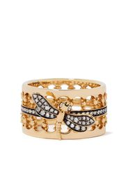 18kt yellow gold Dragonfly diamond crown ring