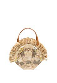 Beige Serena raffia and shell mini bag