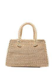 neutral raffia wood straw tote bag