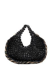 black wood raffia beaded tote bag
