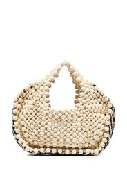 woven-detail beaded tote bag