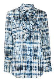 ruffled bib tie-dye print shirt