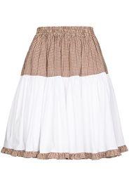 Batsheva Amy tiered cotton gingham skirt - Bianco