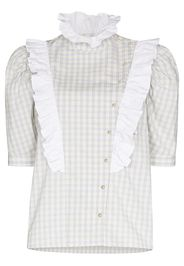 Batsheva gingham-check print ruffled blouse - Grigio
