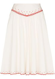 Batsheva embroidered scallop-hem skirt - Bianco