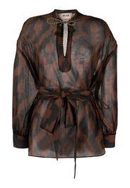 Bazar Deluxe Blusa con stampa geometrica - Marrone