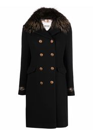 Bazar Deluxe fur collar double breasted coat - Nero