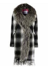 Bazar Deluxe fur trim checked coat - Grigio