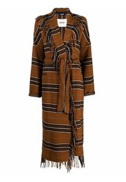 Bazar Deluxe striped fringed trench coat - Marrone