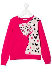 long sleeve knitted leopard jumper
