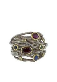 sterling silver, tourmaline, sapphire and diamond wrap ring