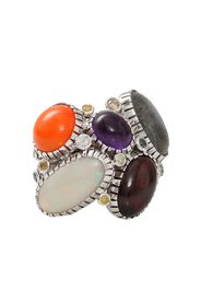 18kt white gold, opal, moonstone, amethyst and agate wire wrap ring