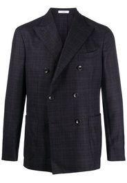 double-breasted check pattern blazer