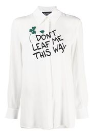 Boutique Moschino leaf pun-print shirt - Bianco