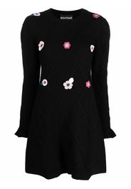 Boutique Moschino appliqué-flower wool knitted dress - Nero
