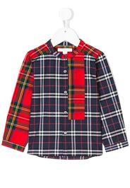 Camicia scozzese con colletto alla coreana