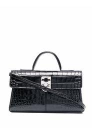 Cafuné Stance Wallet crocodile-embossed leather tote bag - STANCE WALLET CROSSBODY - BLACK EMBOSSED CROC