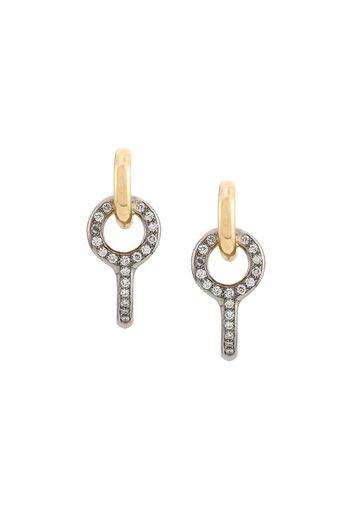 Orecchini Twin Pave in oro bianco e giallo 18kt con diamanti