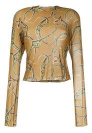 sheer abstract print top