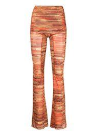 Charlotte Knowles Hard Stripes-print flared trousers - Arancione