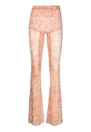 Charlotte Knowles Marble-print flared trousers - Toni neutri