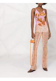 Charlotte Knowles floral-print mesh top - Rosa