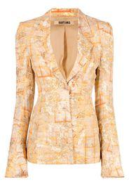 Charlotte Knowles Marble-print single-breasted blazer - Toni neutri