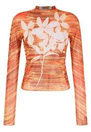 Charlotte Knowles Hard Stripes-print slim-fit top - Arancione