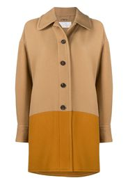 two-tone single-breasted coat