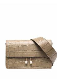 Chylak Shoulder Bag in Glossy Beige Croc Embossed Leather - Toni neutri