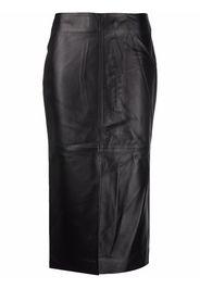 Co split lambskin leather pencil skirt - Nero