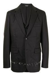 Comme Des Garçons Homme Deux ripped-effect layered blazer - Nero