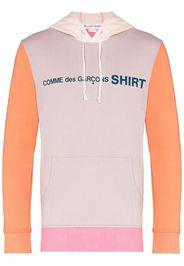 colour block cotton logo hoodie