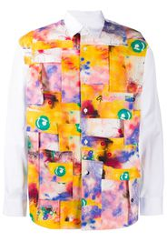 abstract patchwork print shirt