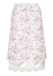 Commission floral-print layered midi skirt - Bianco