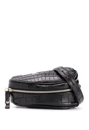 crocodile-effect saddle belt bag