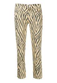 zebra print cropped trousers