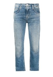 cropped cut hem jeans